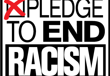 Pledge to End Racism logo with red X in box indicating your pledge
